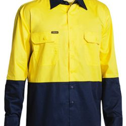 Bisley Drill Shirt, Yellow/Navy