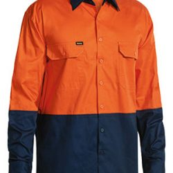Bisley Drill Shirt, Orange/Navy